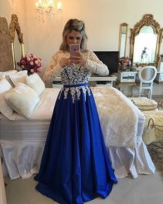 Long Sleeve Royal Blue Evening Dresses 2016 Formal Evening Gowns