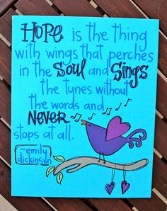 "Hope is the thing... - Canvas Painting - 8""X10"". $25.00, via Etsy."
