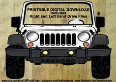 White Jeep Style Photo Booth Prop - Jeep Prop, White SUV Prop, Jeep PhotoBooth Weddings, Going away Parties DIY Instant Download Printable by LMPhotoProps on Etsy