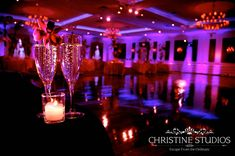 With purple uplighting, our grand ballroom is a romantic and alluring setting for your wedding reception.