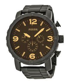 Fossil Herenhorloge 'Nate' Chronograaf JR1356. Mooi en stoer horloge met een survival look. Dit horloge heeft een zwart stalen band en een zwarte kast. De wijzerplaat is bruin. https://www.timefortrends.nl/horloges/fossil/heren.html