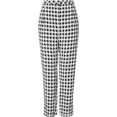 TOPSHOP Crinkle Gingham Peg Trousers ($24) ❤ liked on Polyvore featuring pants, bottoms, trousers, topshop, jeans, monochrome, topshop pants, peg trousers, gingham pants and peg pants