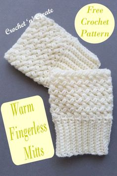 Crochet warm fingerless mitts, great for texting etc. find the FREE crochet pattern on crochetncreate. Beginner Quilt Patterns, Quilting For Beginners, Quilting Tips, Quilting Tutorials, Sewing For Beginners, Quilting Designs, Sewing Tutorials, Crochet Patterns, Crochet Mitts