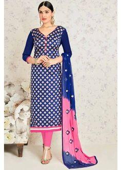 Blue Banarasi Jacquard Churidar Suit, -  £57.00,  #Churidarsuitsuk  #Onlinechuridaruk  #Churidaruk  #Bhagalpurisilkchuridar  #Silkchuridaronline  #Shopkund