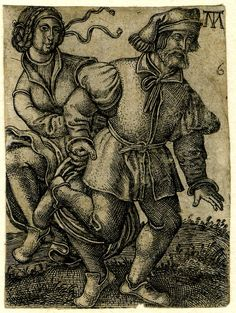 c. 1540 - 50 after Sebald Beham, print made by Monogrammist MT   Plate 6: A peasant couple dancing; the male figure dancing to right.