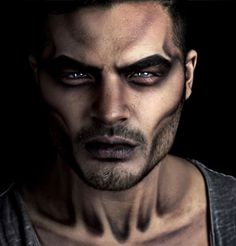maquillage halloween homme facile demon-noir-et-blanc