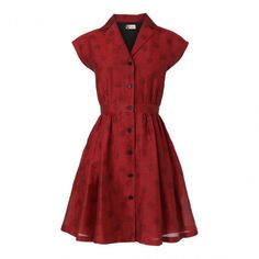 Red Polka Dot Shirt Cotton Blend Dress - Boutique by Jaeger - Private sales   BrandAlley