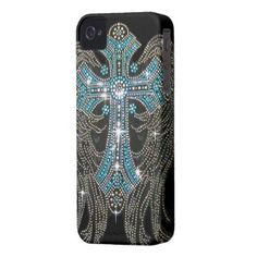 Angel Wings & Cross, Teal and Silver on Black iPhone 4 Covers