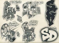 Tattoo Flash by on DeviantArt Chicano Tattoos Lettering, Chicano Tattoos Sleeve, Tattoo Lettering Design, Graffiti Lettering Fonts, Sketch Tattoo Design, Graffiti Alphabet, Cholo Tattoo, Mr Cartoon Tattoo, Empire Tattoo