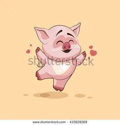 Vector Illustration Cute Pig Cartoon Character Stock Vector ...