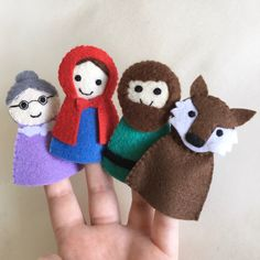 Excited to share this item from my shop: Fairytale Finger Puppets∶ Little Red Riding Hood life toys Felt Puppets, Felt Finger Puppets, Hand Puppets, Red Riding Hood Story, Finger Puppet Patterns, Baby Quiet Book, Felt Monster, Softie Pattern, Felt Fairy