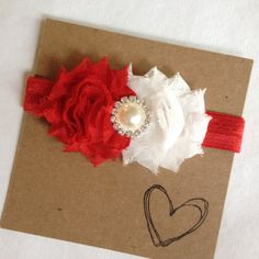 Red and White Shabby Flower Headband Holidays by HipAndHail, $8.00