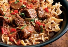 This streamlined goulash skips the step of browning the beef, and instead coats it in a spice crust to give it a rich mahogany hue. This saucy dish is a natu...