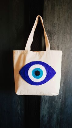 Fabric Bags, Linen Fabric, Evil Eye Art, Teacher Bags, Canvas Tote Bags, Valentine Gifts, Bag Accessories, Punch Needle Patterns, Design Art