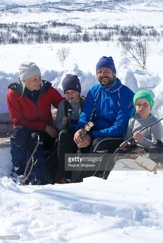 Princess Mette-Marit of Norway, Princess Ingrid Alexandra of Norway, Prince Haakon of Norway and Prince Sverre Magnus of Norway attend a photocall after the 50th Ridderrenn on April 13, 2013 in Beitostoelen, Norway.