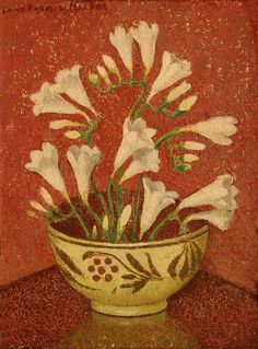 """Freesias in Red Berry Pot,"" Emma Fordyce MacRae, ca. 1940, oil on canvas, 16 x 12"", Boston Art Club."