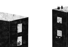 lidia lobato, buildings, edificios, ventanas, windows, plants, plantas, city, ciudad, neighbors, vecinos, ilustration, black and white, negro y blanco, ilustration