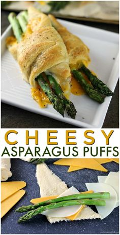 Cheesy Asparagus Puffs are a quick appetizer or side dish. Fresh asparagus wrapped up with provolone and cheddar cheeses and baked in a crescent roll - easy cheesy and delicious! Asparagus Rolls, Asparagus Appetizer, Fresh Asparagus, Asparagus Recipe, Asparagus Dishes, Crescent Roll Appetizers, Crescent Roll Recipes, Quick Appetizers, Appetizer Recipes