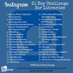 Take the Instagram Challenge (starting 10/1/15) to learn how this network can help libraries. It includes preselected hashtags, post topics, helpful programs, and ways to find local followers! If you miss the challenge deadline, this list will still be helpful. | 5minlib.com
