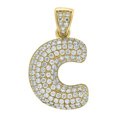 """Yellow Gold Iced Out Cubic Zirconia Mens Womens Bubble Initial Letter """"C"""" Charm PendantItem Number - from Yellow GoldWidth: inches ; Length: inchesGift box Yellow Gold Iced Out Cz Mens Womens Bubble Initial Letter """"C"""" Charm Pendant Letter C, Initial Letters, Letter Pendants, Bracelet Watch, Initials, Bubbles, Charmed, Yellow, Metal"""