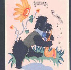 JAZZ MUSICAL BLACK POODLE DOG PLAYS SAXOPHONE,ART DECO ZAZOU POSTCARD