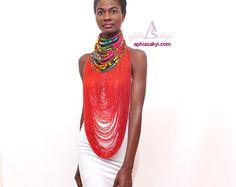 WELAMA collier en perles, ankara, collier imprimé africain, collier, bijoux d'ankara, collier corde, étole ankara, bijoux de mode, jaune
