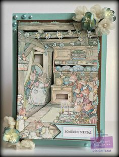 Brambly Hedge Poppys Babies & the secret staircase CD 3d Decor companions Design 3 Sentiment design 2 Colorcore card stock Collall 3d Gel Collall all purpose glue Extras... flowers, pearls & Lace