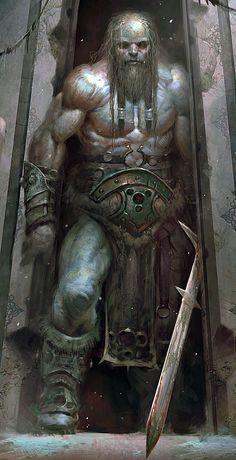 Unknown source | Looks like a barbarian dude or a giant with a Zweihänder or some other type of longsword