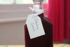 Homemade elderberry cordial.