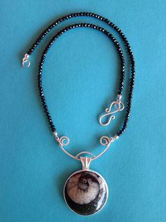 Christina Seebold, Ammonite Pendant, Sterling, ammonite, black spinel . I especially like the way the necklace is done.