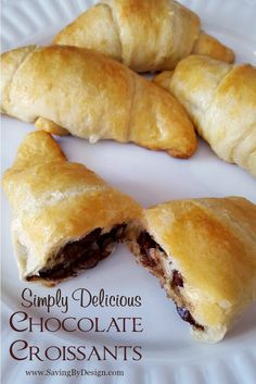 Enjoy chocolaty goodness in only 20 minutes with these simply delicious chocolate croissants! Enjoy chocolaty goodness in only 20 minutes with these simply delicious chocolate croissants! Pillsbury Crescent Recipes, Crescent Roll Recipes, Dessert With Crescent Rolls, Cresent Roll Dessert Recipes, Breakfast Bake, Breakfast Dishes, Breakfast Recipes, Brunch Recipes, Sweet Recipes