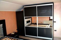 Dressing dormitor mobila moderna realizat din Pal dublat 0190SN Negru striat in 2 usi culisante cu rama din aluminiu si Oglinda Divider, Entryway, Room, Closet, Furniture, Home Decor, Entrance, Bedroom, Armoire