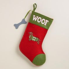 One of my favorite discoveries at WorldMarket.com: Dachshund Pet Stocking