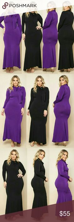 """PLUS SIZE BOWED MAXI MERMAID DRESS PLUS SIZE BOWED MAXI MERMAID DRESS  $44.99   #Plus Sizes #Dress #Maxi #ecw1366057 ?   A plus size maxi dress with a bowed neckline and long sleeves. Solid colored all over and a a flared hem.  - 94% Polyester 6% Spandex? - Hand Wash? - Made in USA  MODEL  - Model is wearing size 1X? - Model is 5'11"""" / Bust: 42"""" / Waist: 35"""" / Hip: 49"""" Dresses Maxi"""