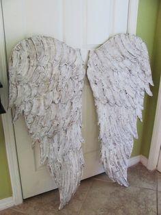 Wood Angel Wings Wall Art, Large Carved Look Wooden Angel Wings Wood Angel Wings, Angel Wings Wall Art, Feather Angel Wings, Wooden Angel, Feather Wall Art, Diy Wings, Junk Gypsies Decor, Wing Wall, Art Carved