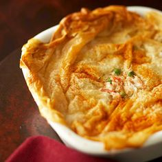 True to the famous dance named after this Southern city, this recipe for pot pie is full of twists and kicks! Cajun seasoning in the luscious crab-and-leek filling will raise eyebrows, and ultra thin layers of crisp phyllo dough add flavor dimension.