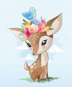 Cute cartoon deer with floral crown illustration Premium Vector Cartoon Cartoon, Cartoon Drawings, Cute Drawings, Crown Illustration, Baby Animal Drawings, Motif Floral, Floral Crown, Children Sketch, Kids Graphics