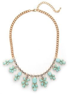 Charming, elegant and oh-so-glam — this gemstone necklace is all three, and then some. Plus, were especially taken with the feminine motif and sweet contrast of gold and pale mint. By Bauble Bar. I feel like tea with the queen!