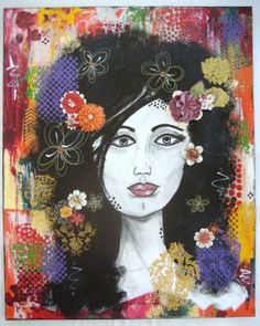 Flower Girl Large Original Mixed Media Painting // by CarlasCraft, $150.00