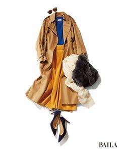 休日コーデは、いつもよりちょっと冒険してカラーアイテムを組み合わせたコーディネートで。旬のふんわり素材ながら甘すぎないブルーニットに、華のあるマスタードスカートを合わせれば、今季らしいビビットな色合わせに。コートやシューズ、バッグなどは、落ち着いたカラーを選んで大人っぽさを後押し・・・