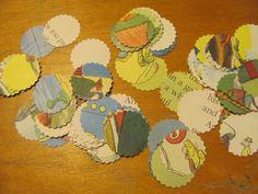 Scalloped Circle Confetti  Vintage Children's Book