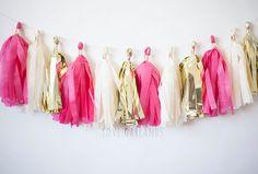 Ivory Gold Magenta Tassel Garland Hot Pink Garland by LoveGarlands
