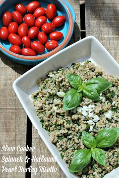 ... Spinach and Halloumi Pearl Barley Risotto via Lucy - BakingQueen74