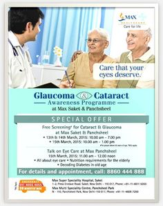 Cataract & Glaucoma screening at Max Healthcare