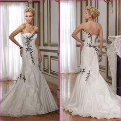 2013 New Strapless Ivory Organza Whte Black Lace Wedding Dress Custom Mermaidl Bridal Wedding Gown