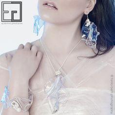 HAWAIIAN WAVES COLLECTION porcelain, polycarbonate, silver, steel earrings, necklace, bracelet