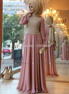 Fashion Women Dress Pink A-Line Lace O-Neck Beautiful Elegant Muslim Evening Dresses Gown 2014   Muslim Wedding Shop Wholesale and Retail