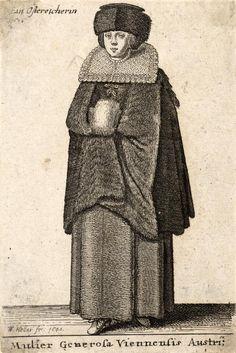 """Wenceslas Hollar, 1636/42 """"Mulier Generosa Viennensis Austrica"""""""