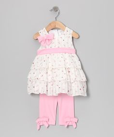 Take a look at this White & Pink Floral Dress & Leggings - Infant, Toddler & Girls on zulily today!  Joe ella