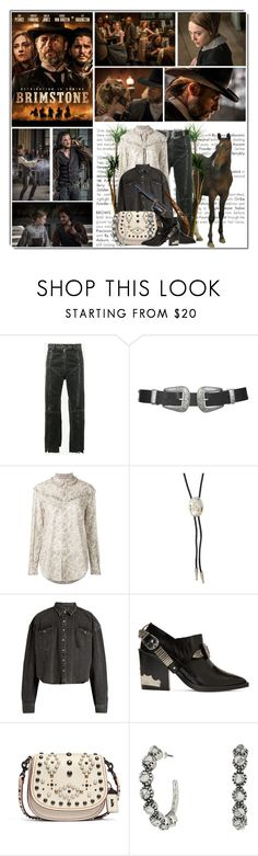 """Brimstone (Western Movie Contest)"" by queenrachietemplateaddict ❤ liked on Polyvore featuring Vetements, Topshop, Yves Saint Laurent, M&F Western, Toga, Coach 1941, movie and western"